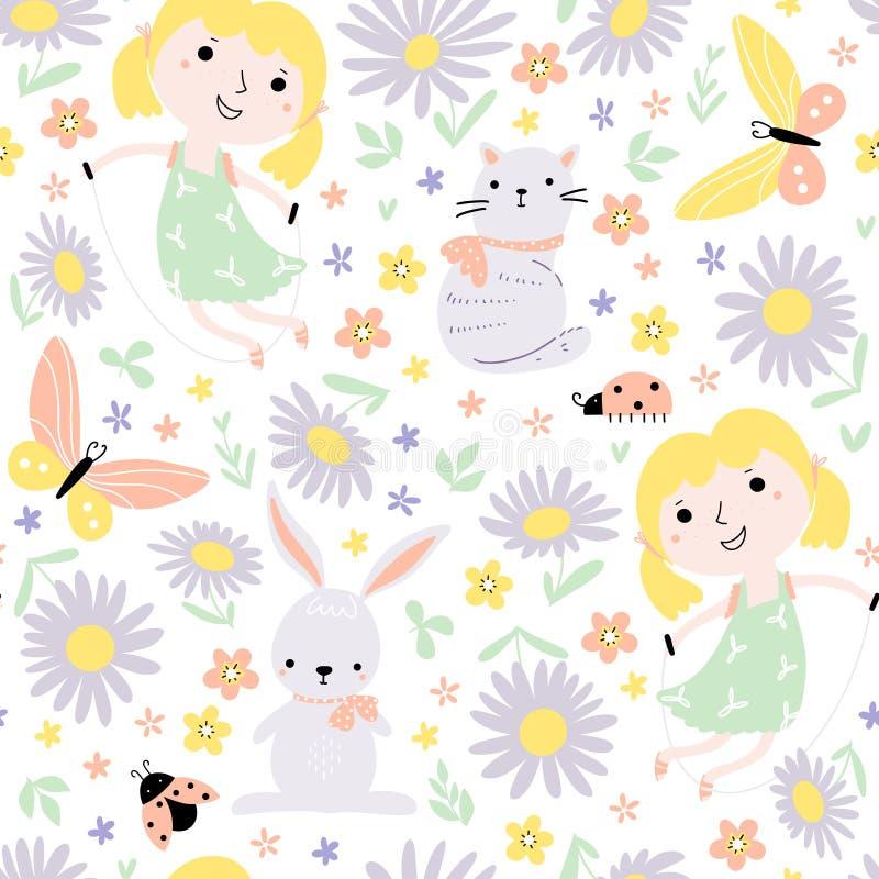 Nahtloses Muster mit dem Spielen der kleinen Mädchen stock abbildung