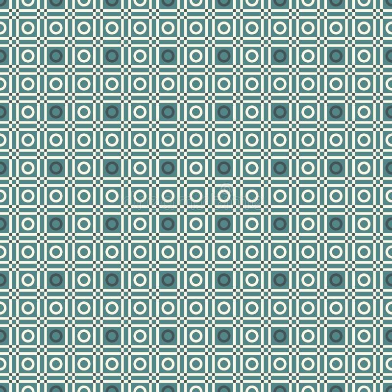 Nahtloses Muster mit dem Wiederholen von Kreisen, von Quadraten und von Anschlägen Geometrischer abstrakter Hintergrund Grillmoti lizenzfreie abbildung