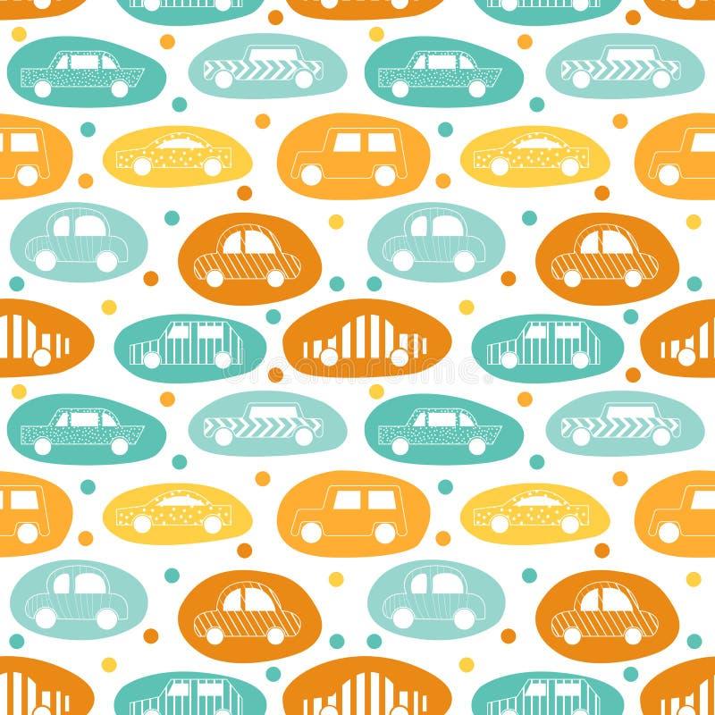 Nahtloses Muster mit den Aufklebern des Autos stock abbildung