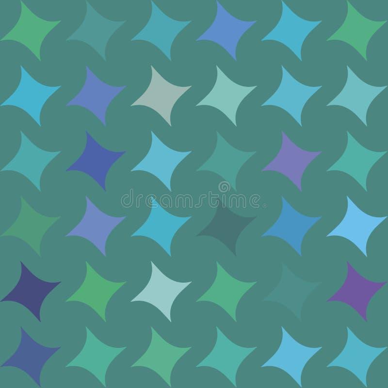 Nahtloses Muster mit den blauen, grünen, purpurroten, violetten Rauten, geometrische Formen, spielt auf grünem Hintergrund die Ha stock abbildung