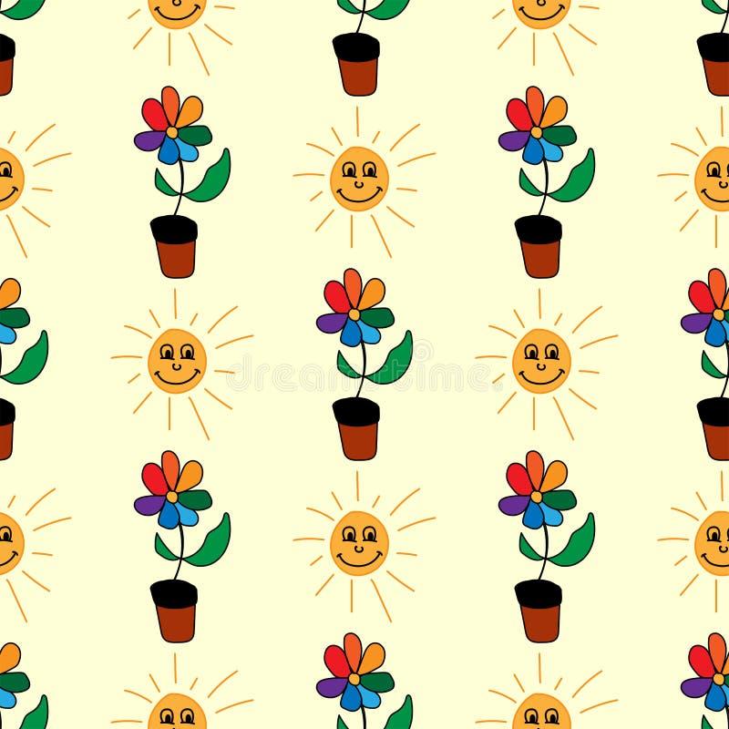 Nahtloses Muster mit den Blumen und lächelnden Sonnen eigenhändig gezeichnet Netter Druck für Kinder Auch im corel abgehobenen Be stock abbildung