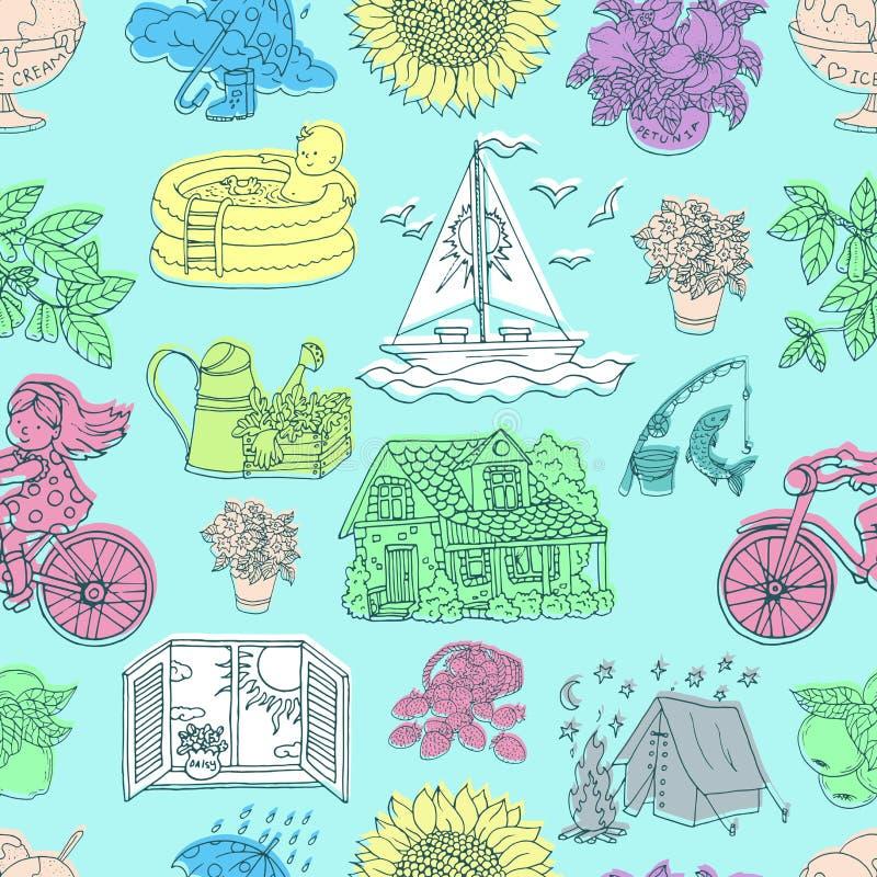 Nahtloses Muster mit den bunten Sommerzeichnungen von Reisegegenst?nden, arbeitend, H?uschenhaus, Blumen auf Blau im Garten vektor abbildung