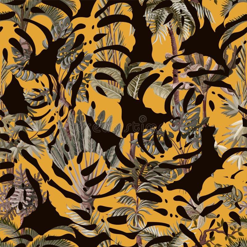Nahtloses Muster mit den exotischen solchen Bäumen wir Palme, monstera und Banane Innenweinlesetapete lizenzfreie abbildung