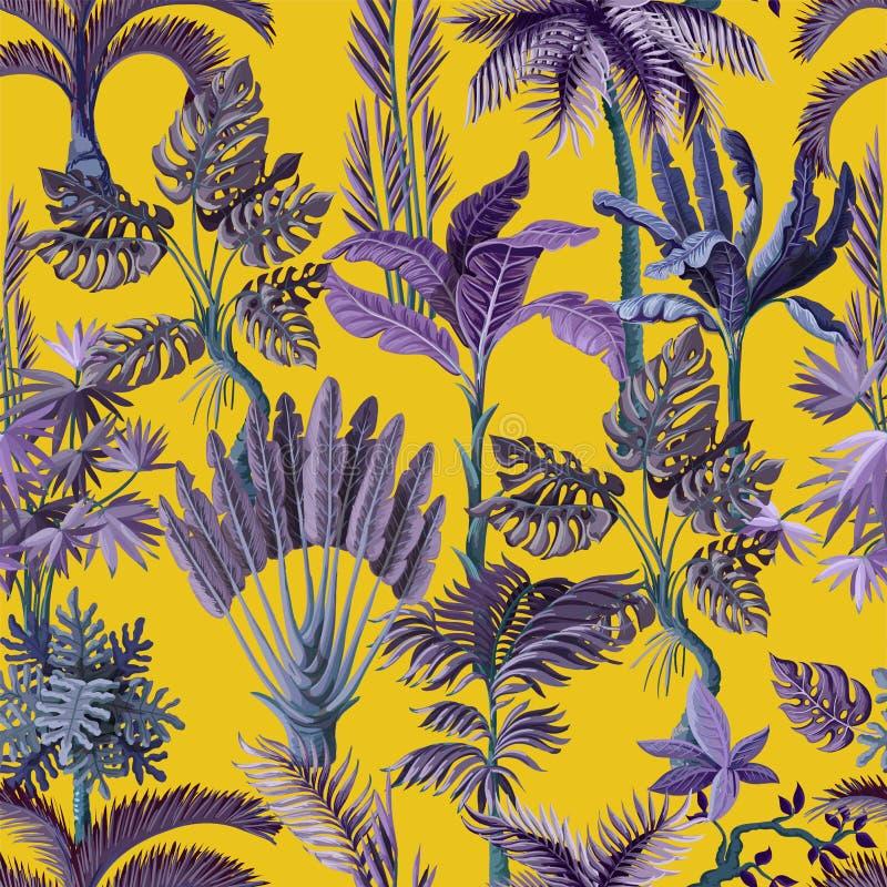 Nahtloses Muster mit den exotischen solchen Bäumen wir Palme, monstera und Banane Innenweinlesetapete stock abbildung