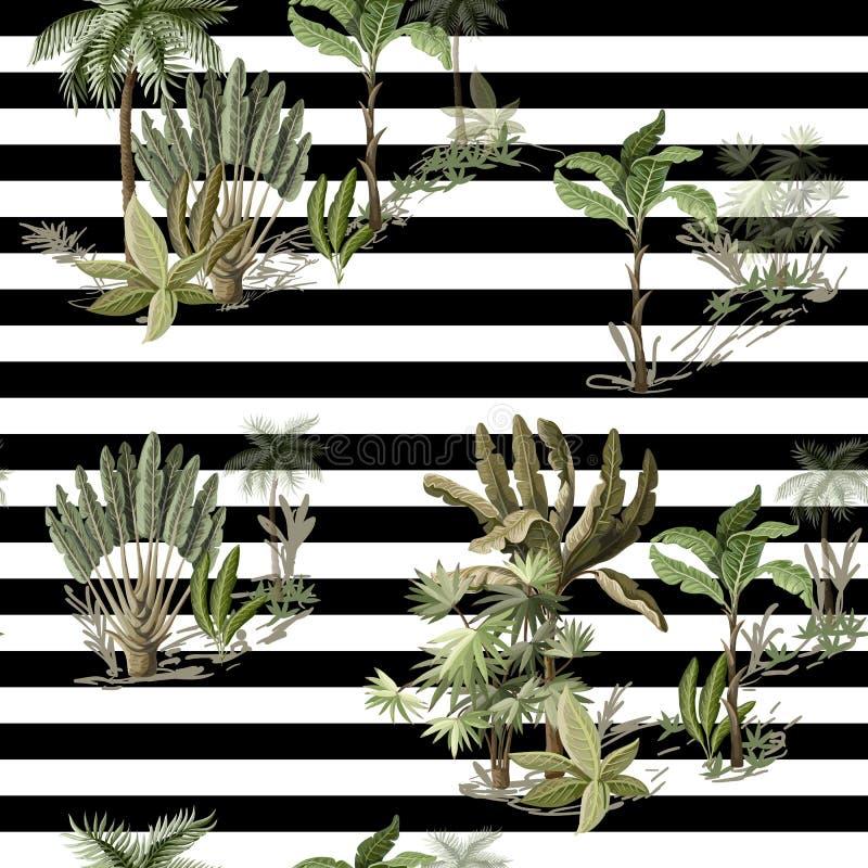 Nahtloses Muster mit den exotischen solchen Bäumen wir Palme und Banane auf Landschaft Innenweinlesetapete vektor abbildung