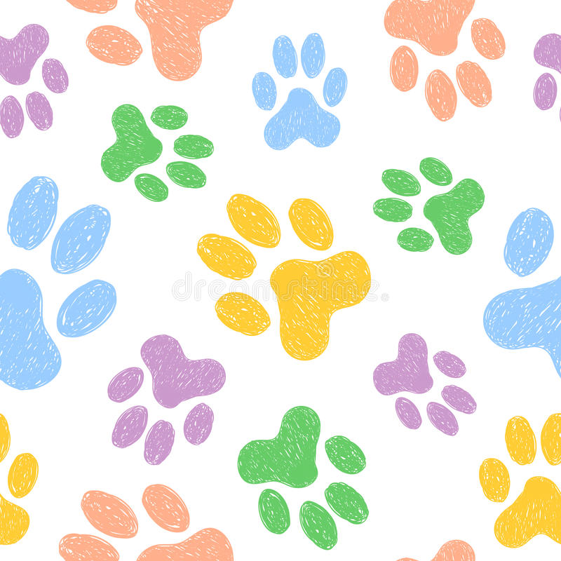 Nahtloses Muster mit den Gekritzelhundetatzen Bunter Tierdruck stock abbildung