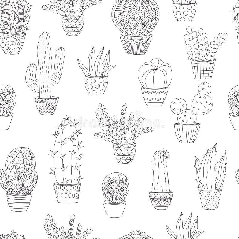 Nahtloses Muster mit den Houseplants, die Seite färben lizenzfreie abbildung