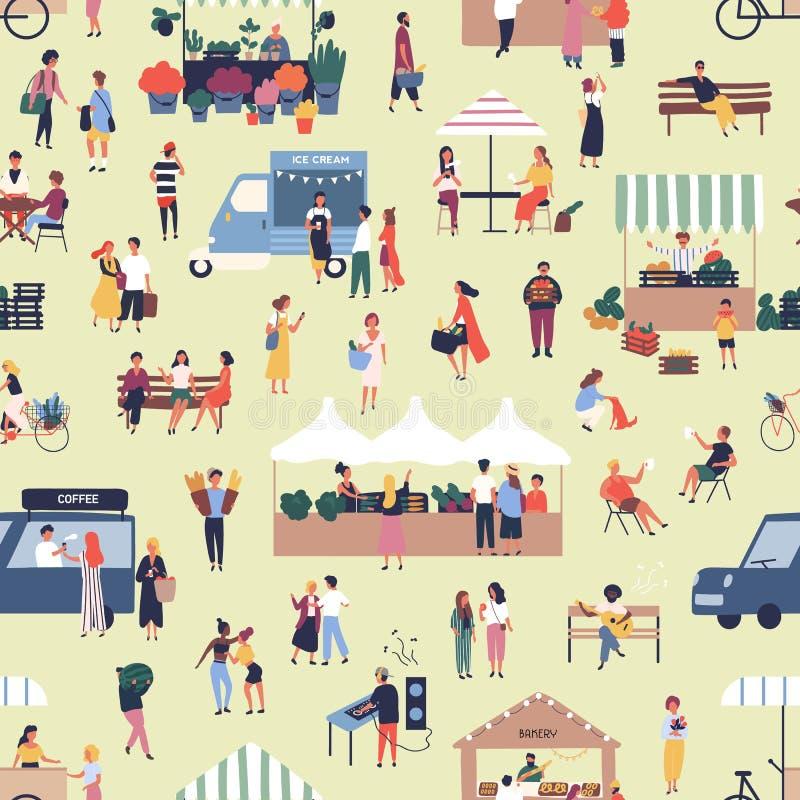 Nahtloses Muster mit den Leuten, die Waren am Straßennahrungsmittelsaisonmarkt kaufen und verkaufen Hintergrund mit Männern und F lizenzfreie abbildung