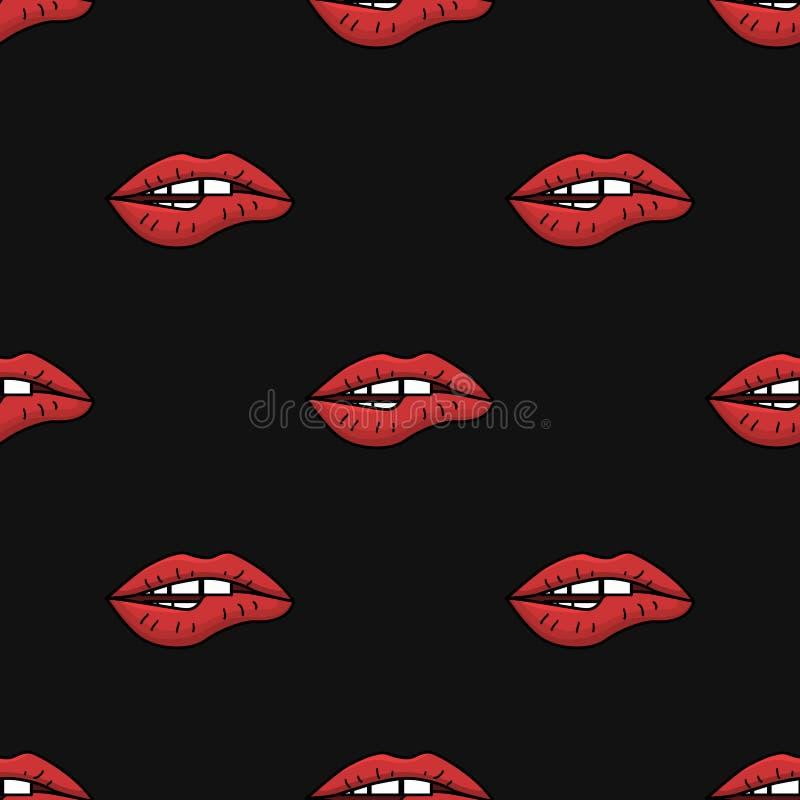 Nahtloses Muster mit den Lippen der Frauen lizenzfreie abbildung