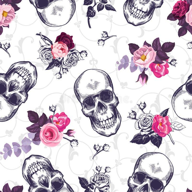 Nahtloses Muster mit den menschlichen Schädeln und Hälfte färbten Blumensträuße in der Holzschnittart und in der barocken Verzier lizenzfreie abbildung