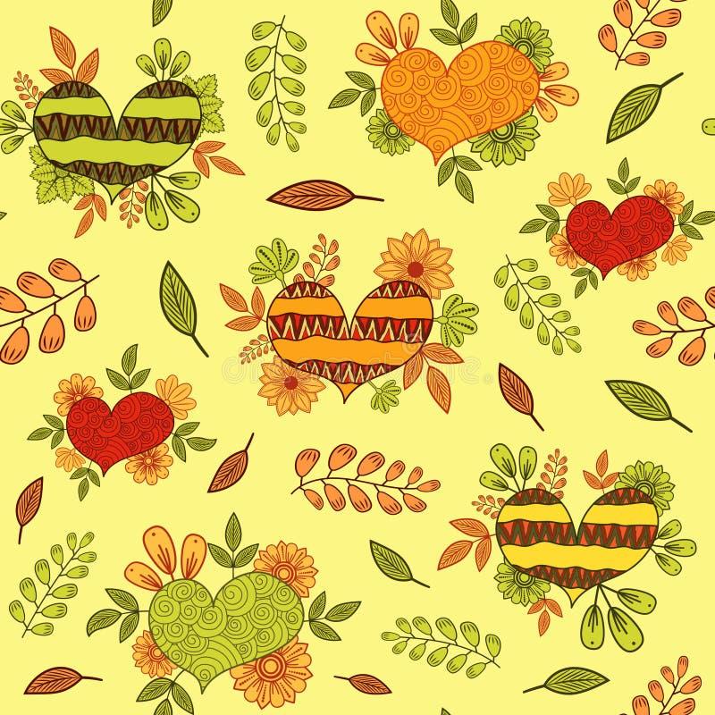 Nahtloses Muster mit den Orangen-, Gelben und Grünenethnischen Gekritzelherzen vektor abbildung