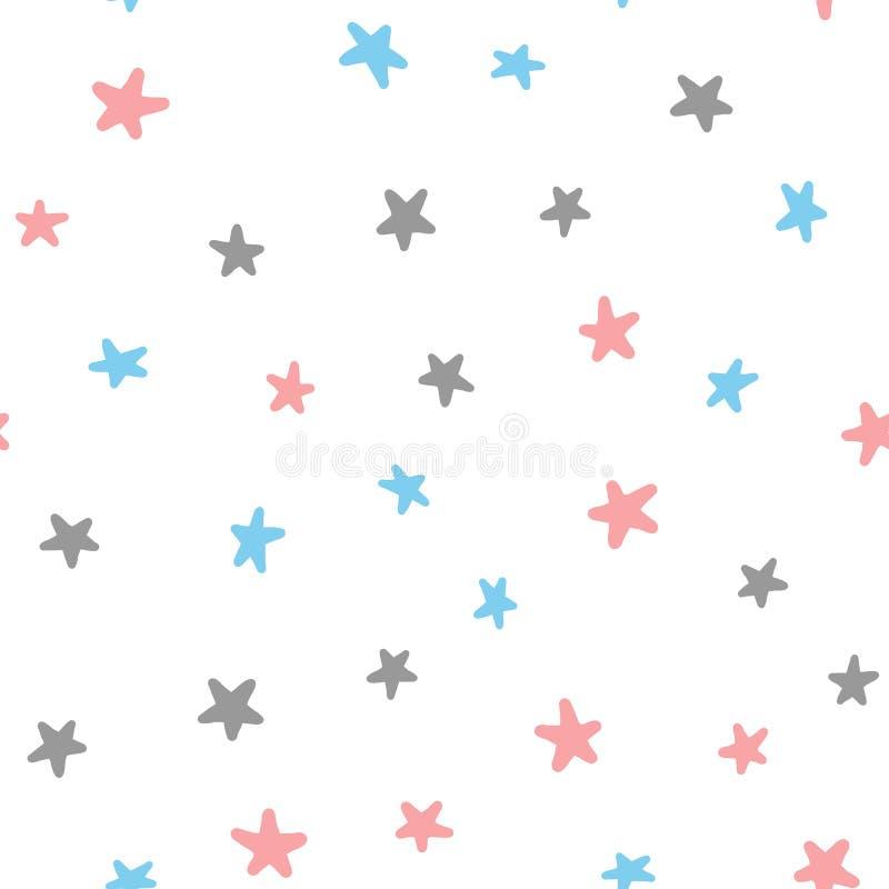 Nahtloses Muster mit den rosa, blauen, dunkelgrauen Sternen auf weißem Hintergrund lizenzfreie abbildung