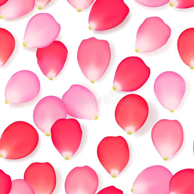 Nahtloses Muster mit den rosafarbenen Blumenblumenblättern lizenzfreie abbildung