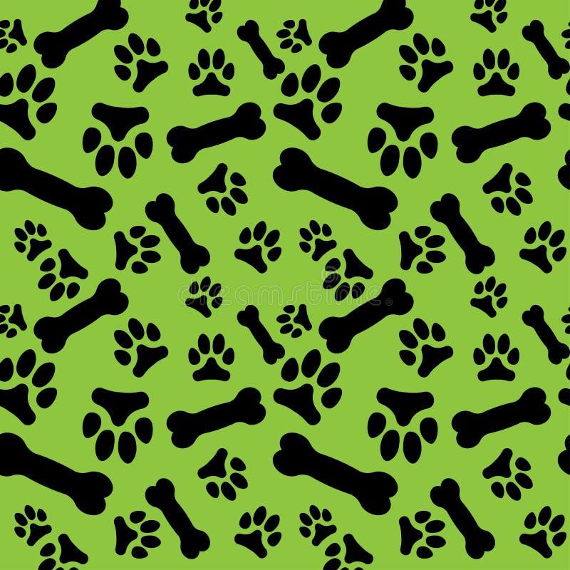Nahtloses Muster mit den schwarzer Hundepfotenabdrücken und -knochen auf einem grünen Hintergrund vektor abbildung