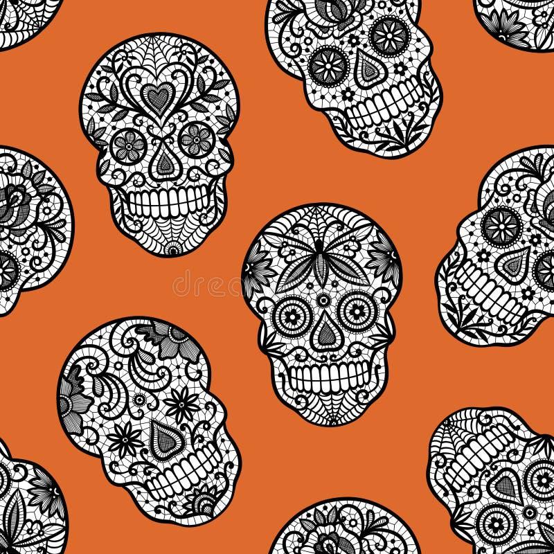 Nahtloses Muster mit den Spitzezuckerschädeln auf orange Hintergrund vektor abbildung