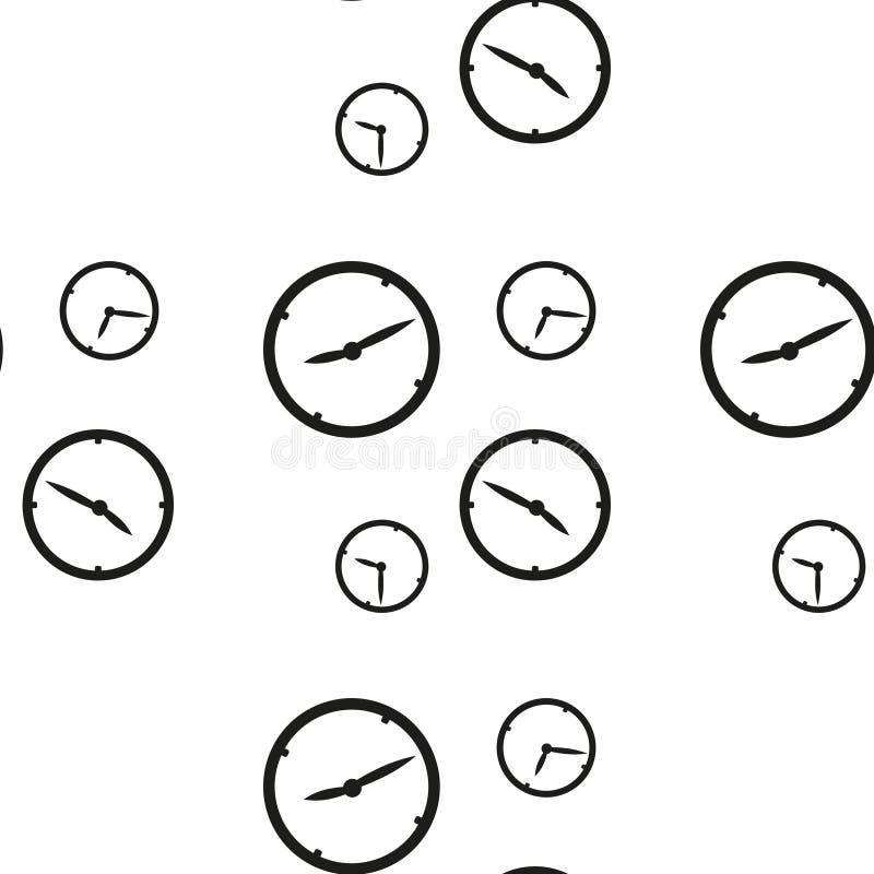Nahtloses Muster mit den Uhren, die unterschiedliche Zeit lokalisiert auf weißem Hintergrund zeigen Auch im corel abgehobenen Bet lizenzfreie abbildung