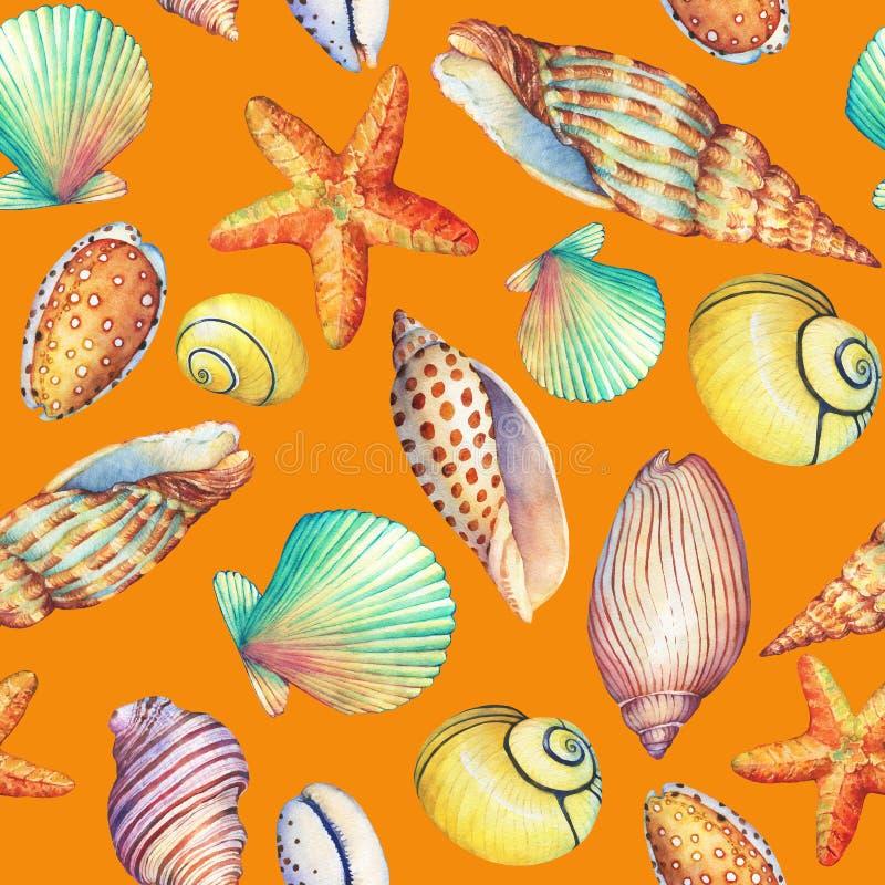 Nahtloses Muster mit den Unterwasserlebengegenständen, lokalisiert auf orange Hintergrund Marine-DesignSHELL, Seestern Aquarellha stock abbildung