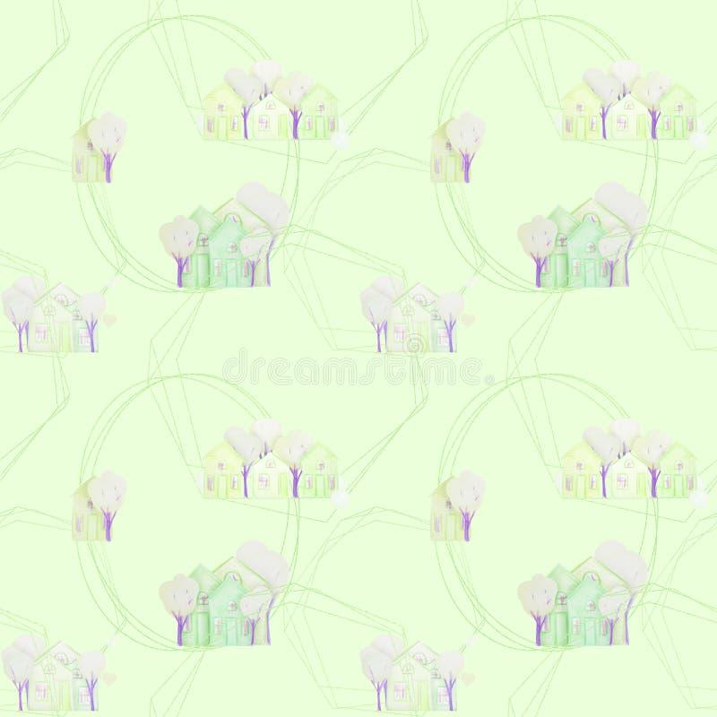 Nahtloses Muster mit den Winterh?usern gezeichnet mit farbigen Bleistiften vektor abbildung