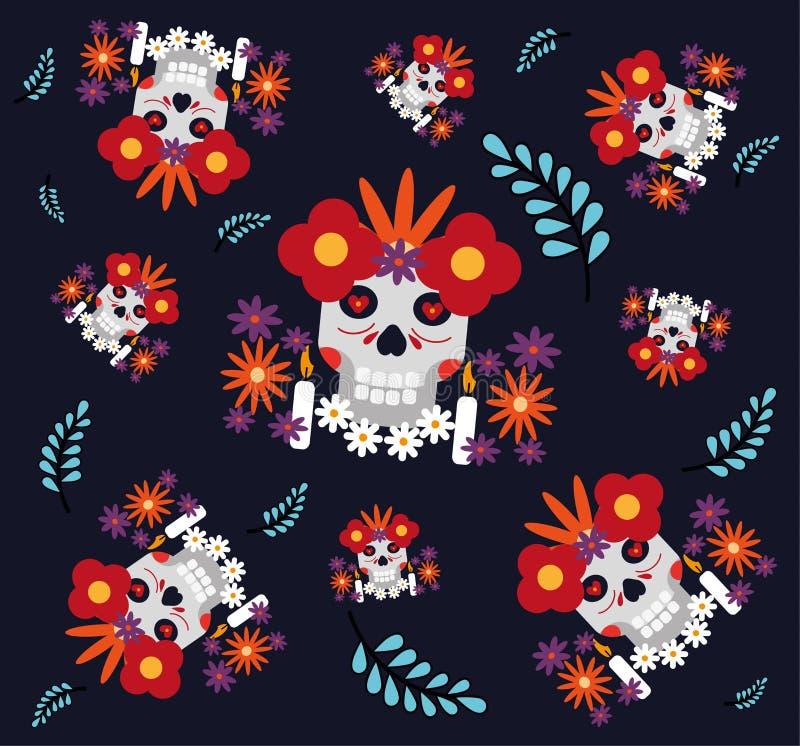Nahtloses Muster mit den Zuckerschädeln und -blumen auf dunklem Hintergrund Tag der toten Zuckerschädelfahne für Mexikaner vektor abbildung