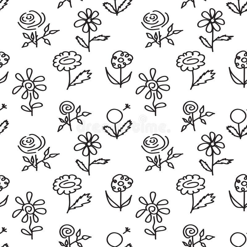 Nahtloses Muster mit der gezeichneten Hand blüht auf weißem Hintergrund stock abbildung