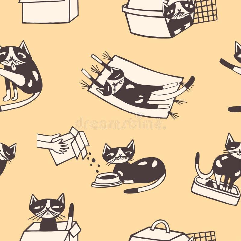 Nahtloses Muster mit der lustigen Katze, die, essend sich wäscht und schlafen und sitzen innerhalb des Kartonkastens und der Förd lizenzfreie abbildung