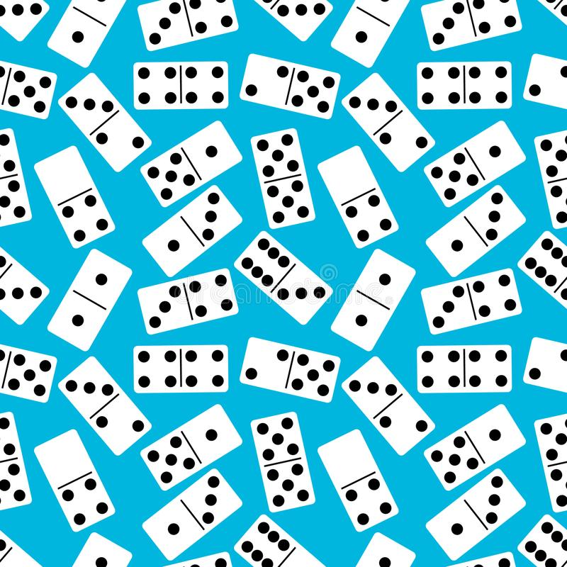 Nahtloses Muster mit Domino auf blauem Hintergrund Ein altes Spiel Auch im corel abgehobenen Betrag lizenzfreie abbildung