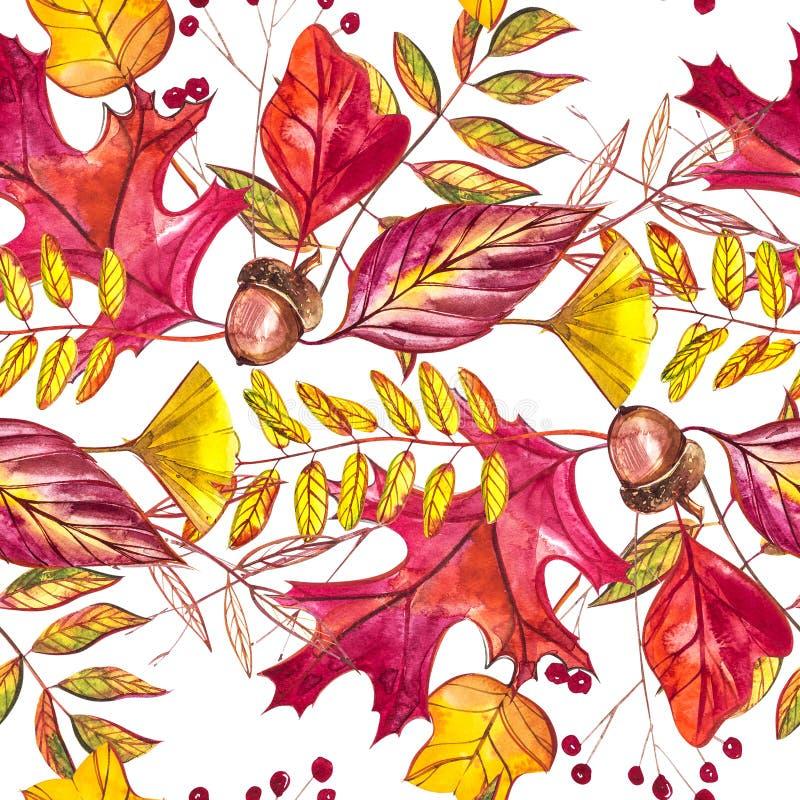 Nahtloses Muster mit Eicheln und Herbsteiche verlässt in Orange, in Beige, in Braunem und in Gelbem Vervollkommnen Sie für Tapete lizenzfreie abbildung