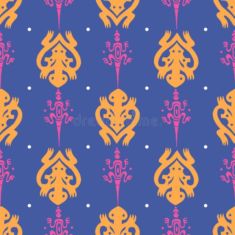 Nahtloses Muster mit Eidechse und Schildkr?te in der Maori- Art Auch im corel abgehobenen Betrag vektor abbildung