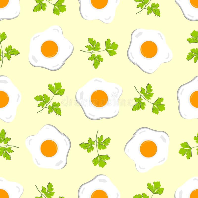 Nahtloses Muster mit Eiern und Zweigen der Petersilie lizenzfreie abbildung