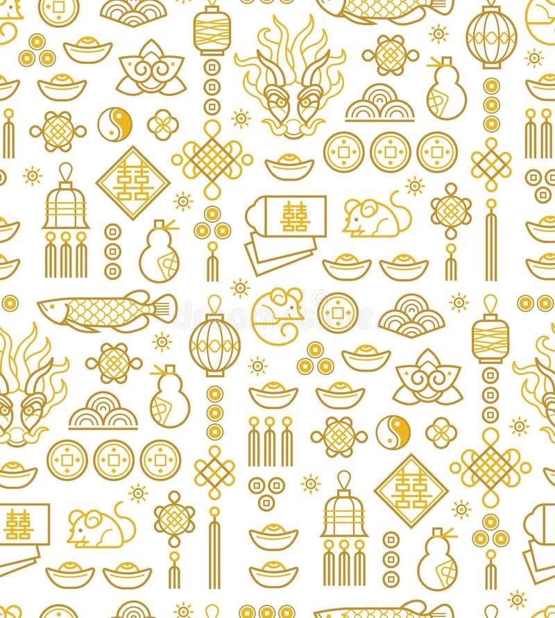Nahtloses Muster mit einem Umrisssymbol im chinesischen Stil stock abbildung