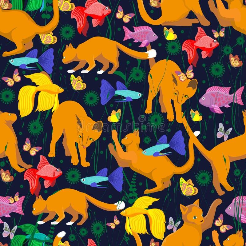 Nahtloses Muster mit einer gelb-roten Katze vektor abbildung
