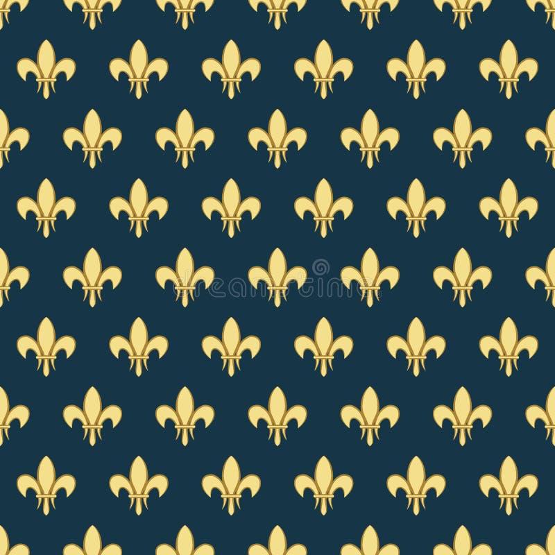 Nahtloses Muster mit einer Goldköniglichen Lilie nannte eine Lilie auf einem dunklen Hintergrund Heraldische Verzierung des Vekto stock abbildung