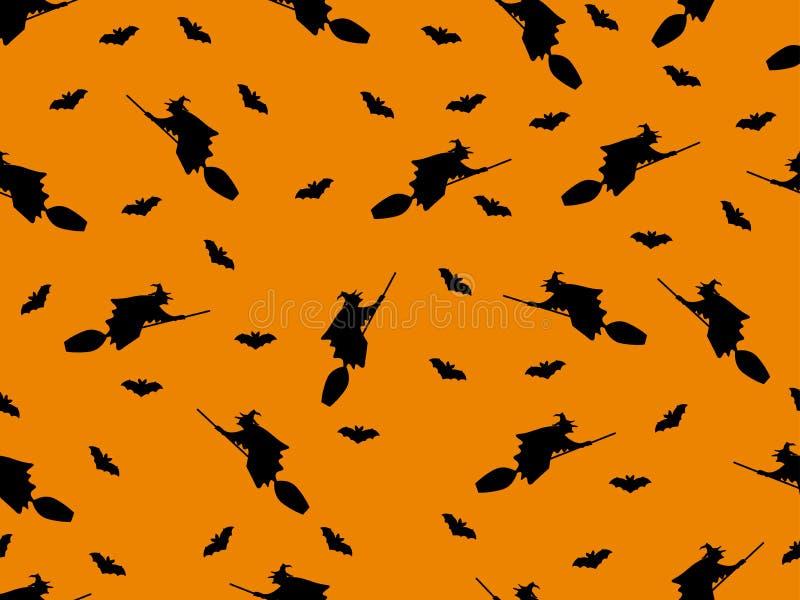 Nahtloses Muster mit einer Hexe auf einem Besen und Schlägern für Halloween lizenzfreie abbildung