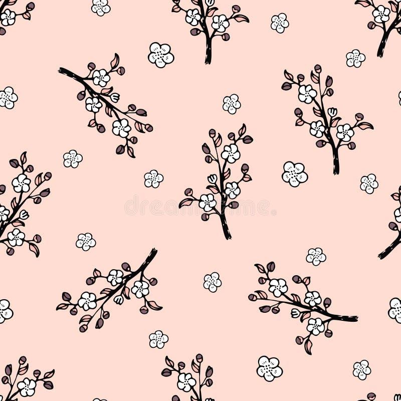 Nahtloses Muster mit einer leichten japanischen orientalischen Kirsche vektor abbildung