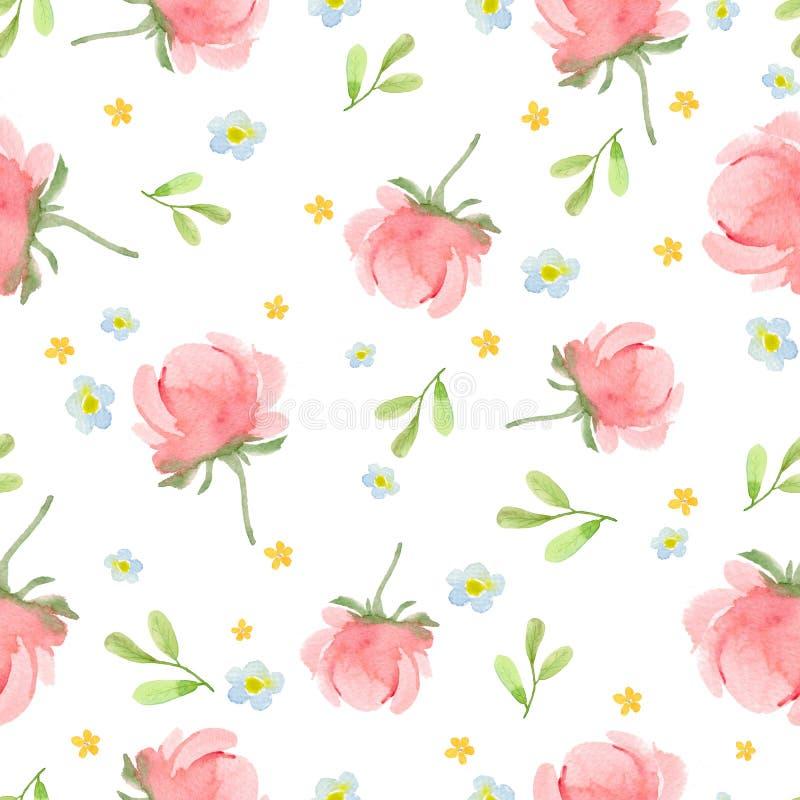 Nahtloses Muster mit einer rosa Pfingstrose, blauen und orange Blumen und ein Grün verlässt auf einem weißen Hintergrund vektor abbildung