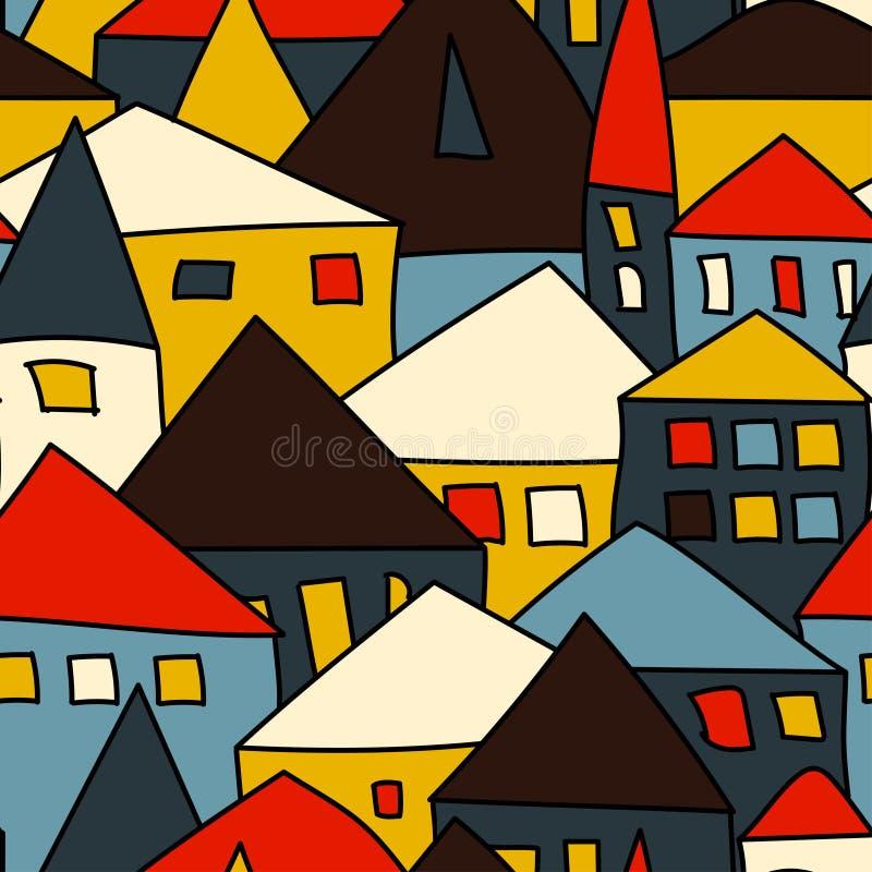Nahtloses Muster mit einer Stadt vektor abbildung