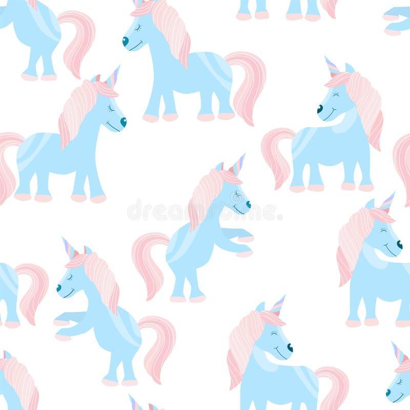 Nahtloses Muster mit einiges netten Märchen Unicorn Childrens Druck auf einem T-Shirt Auch im corel abgehobenen Betrag lizenzfreie stockfotografie