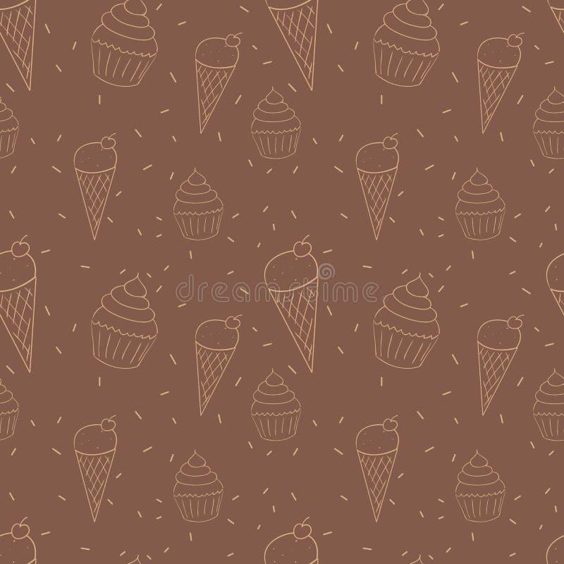 Nahtloses Muster mit Eistüten und Gekritzeln der kleinen Kuchen Übergeben Sie gezogenen wiederholenden Hintergrund in den warmen  lizenzfreie abbildung