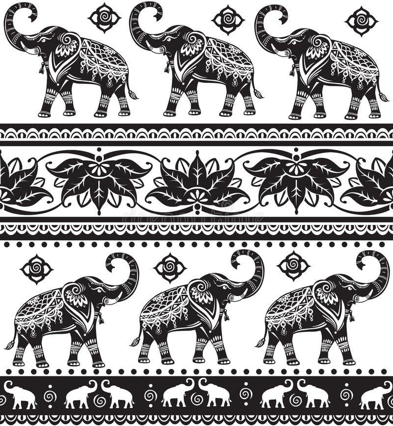 Nahtloses Muster mit Elefanten lizenzfreie abbildung