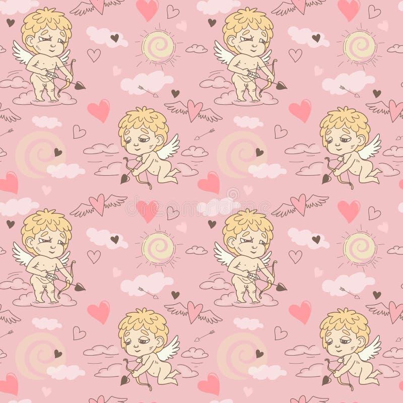 Nahtloses Muster mit Engel und Amoren Valentinsgruß ` s Tag lizenzfreies stockbild