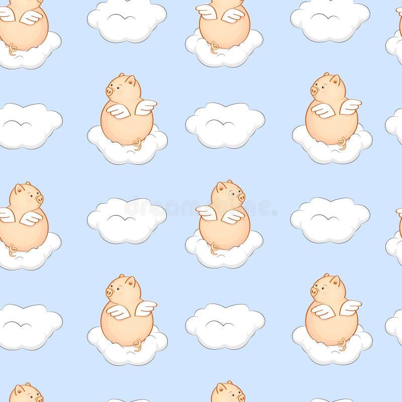 Nahtloses Muster mit Engelsschweinen und weißen Wolken im blauen Himmel vektor abbildung
