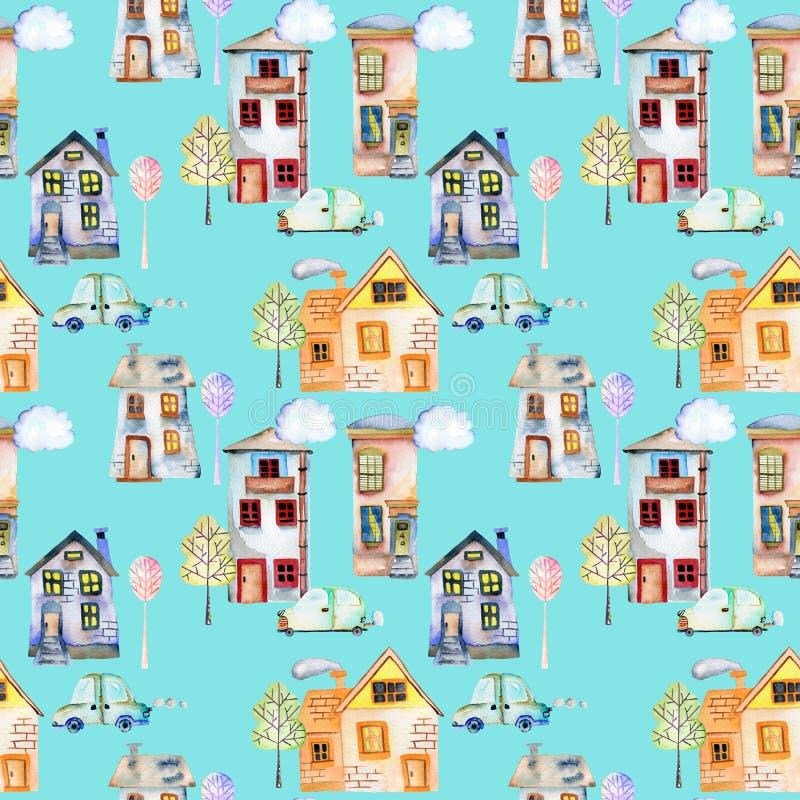 Nahtloses Muster mit englischen Häusern, Autos, Bäumen und Wolken des netten Karikaturaquarells vektor abbildung