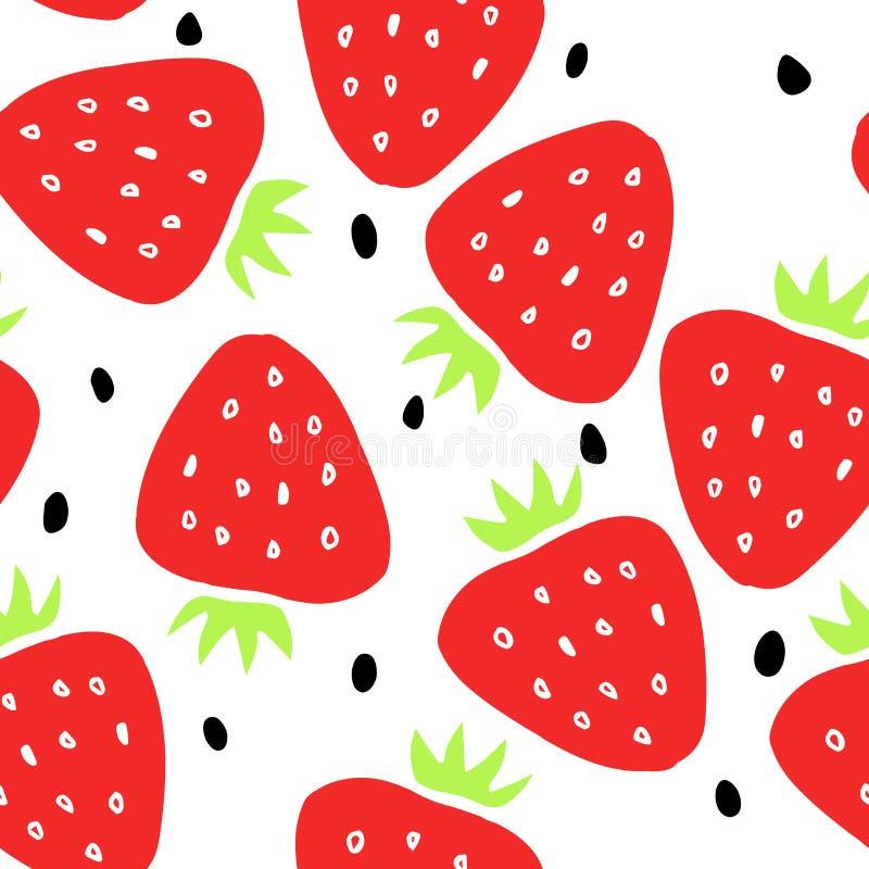 Nahtloses Muster mit Erdbeere und Samen auf einem weißen Hintergrund vektor abbildung