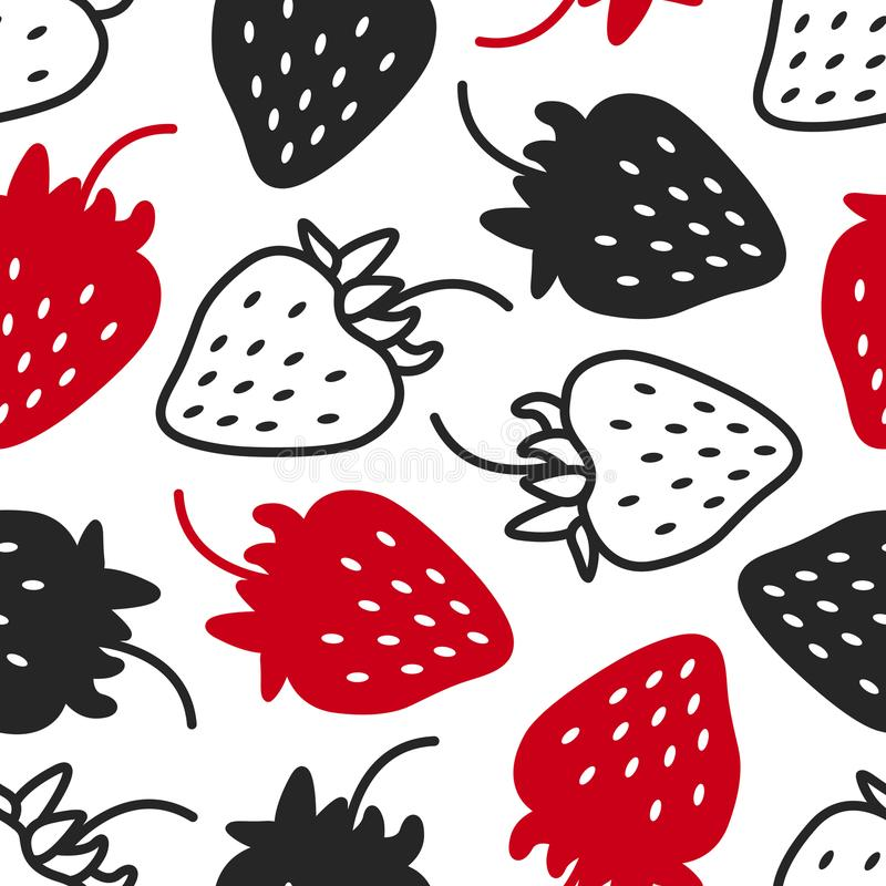 Nahtloses Muster mit Erdbeeren Kontrast - schwarz, weiß und rot, Schattenbild und Linie graphik Hand gezeichnet lizenzfreie abbildung