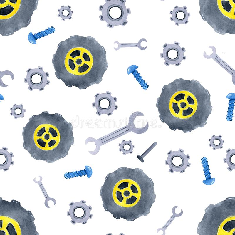 Nahtloses Muster mit Ersatzteilen der Aquarellautos Entwurf der Kleidungs der Kinder, Tapete, verpackend, Hintergrund, Wand vektor abbildung
