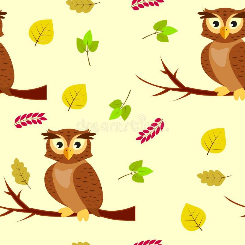 Nahtloses Muster mit Eulen auf einem Baumast und Herbstlaub lizenzfreie abbildung