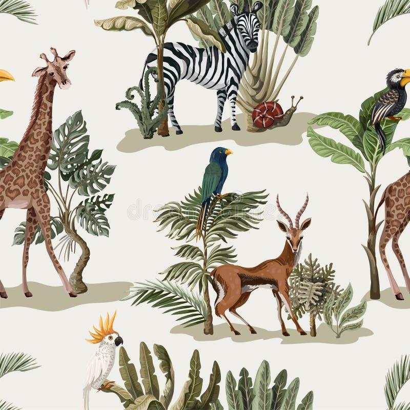 Nahtloses Muster mit exotischen Bäumen und Tieren Innenweinlesetapete stock abbildung