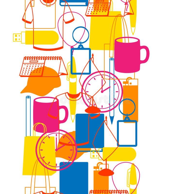 Nahtloses Muster mit fördernden Geschenken und Andenken lizenzfreie abbildung