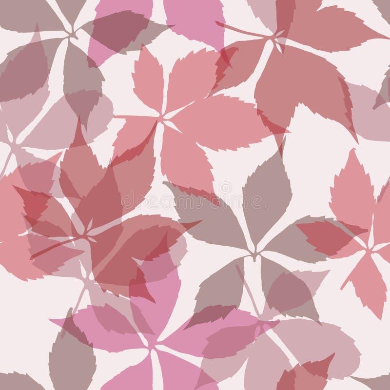 Nahtloses Muster mit fallenden Blättern Hintergrund mit Herbstvirginia-Kriechpflanzenblättern stock abbildung