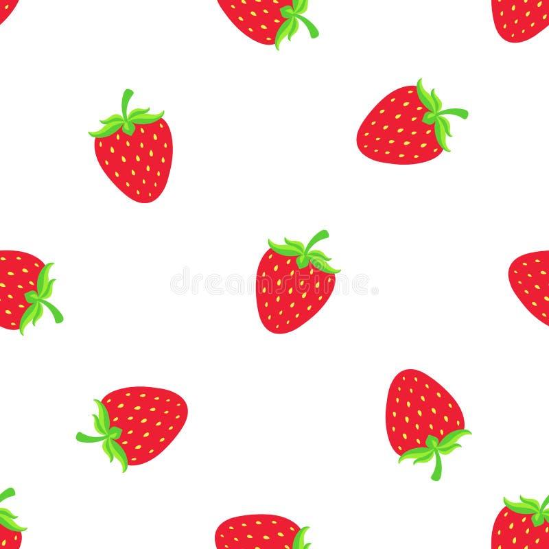 Nahtloses Muster mit fallender süßer roter Erdbeere mit einem Stamm vektor abbildung
